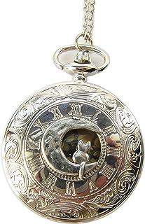 Cat Moon Pocket Watch Necklace,cat Necklace,Moon Necklace,cat Lady,Celestial Necklace,Cat Lover