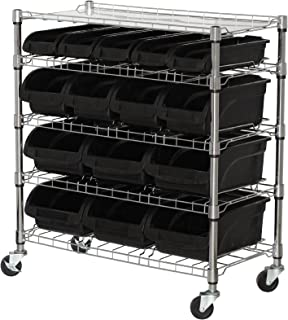 Sandusky Lee MBU3317BIN15 Mobile Wire Shelving with 15 Plastic Bins, 38
