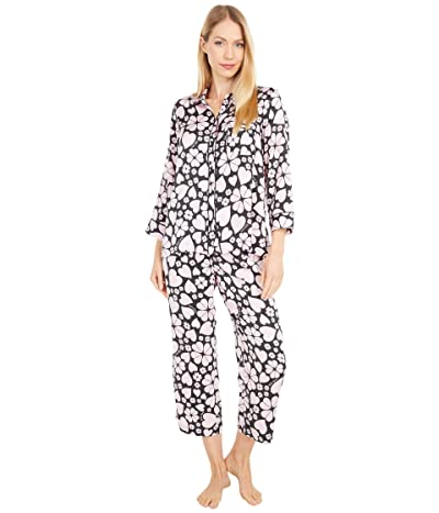 Kate Spade New York Charmeuse Cropped Pajama Set (Spade Clover Hearts) Women