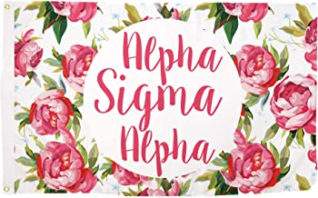 Alpha Sigma Alpha Rose Pattern Letter Sorority Flag 3 Foot x 5 Foot Banner Greek Letter Sign Decor ASA