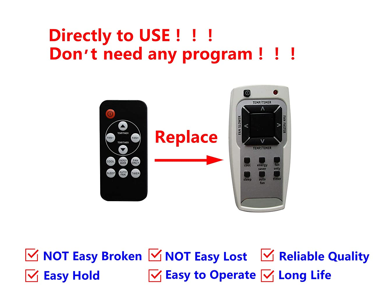 Easytry123 Remote Control for FRIGIDAIRE LRA107BU111 LRA107CT15 LRA107CV1 LRA107CV110 LRA107CV111 LRA107CV112 LRA107CV113 LRA107CV114 LRA107CV115 Room Air Conditioner