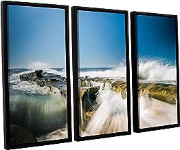 Scott Campbell's Incoming La Jolla Rock, 3 Piece Floater Framed canvas Set 36x54