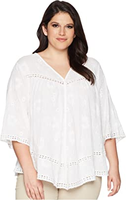 Plus Size Embroidered Gauze Top