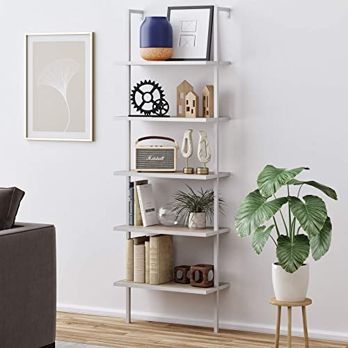 Nathan James Theo 5-Shelf Wood Modern Bookcase, Open Wall Mount Ladder Bookshelf with Industrial Metal Frame, Gray Oa...