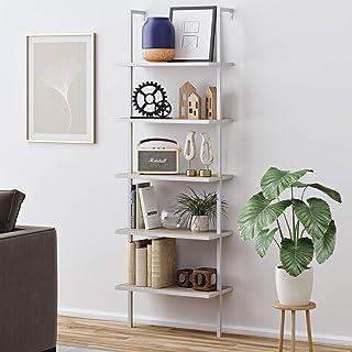 Nathan James Theo 5-Shelf Wood Modern Bookcase, Open Wall Mount Ladder Bookshelf with Industrial Metal Frame, Gray Oak/White