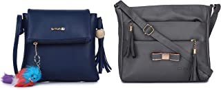 GLOSSY Women's PU Sling Bag with keychain and Sling Bag with 5 Zip compartments - Combo Blue and Grey