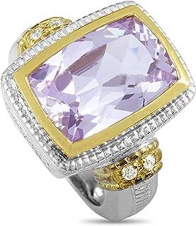Judith Ripka (Est.) Judith Ripka Silver and 18K Yellow Gold Diamond and Pink Zircon Ring