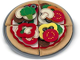 Melissa & Doug Felt Play Food Pizza Set (Pretend Play, Easy to Clean, Includes Play Ideas, 42 Durable Pieces, Great Gift for Girls and Boys - Best for 3, 4, 5, 6, and 7 Year Olds)