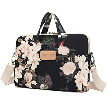 Dachee Black Peony Patten Waterproof Laptop Shoulder Messenger Bag Case Sleeve for 14 Inch 15 Inch Laptop Case Laptop Briefcase 15.6 Inch
