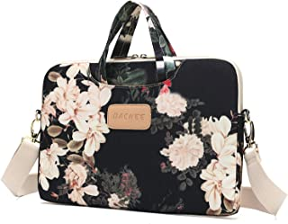 Dachee Black Peony Patten Waterproof Laptop Shoulder Messenger Bag Case Sleeve for 14 Inch 15 Inch Laptop Case Laptop Brie...