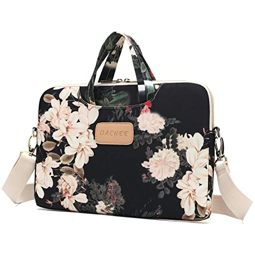 DACHEE Black Peony Patten Waterproof Laptop Shoulder Messenger Bag Case Sleeve for 14 Inch 15 Inch