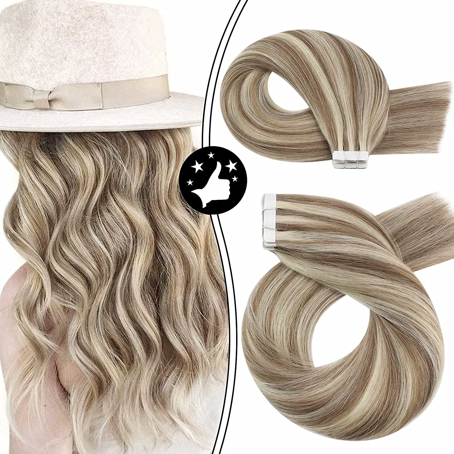 Moresoo Tape in Hair Extensions Dallas Mall 24inch Exte Remy Human New sales