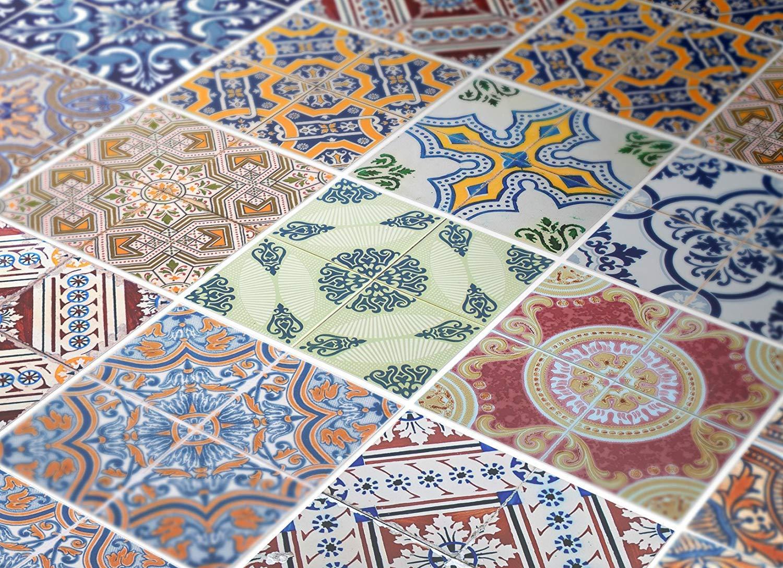Moonwallstickers.com - Conjunto de 24 vinilos de Pared para Decorar la Escalera con diseño de azulejo portugués, 4 x 4 Inches: Amazon.es: Hogar