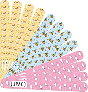 JPACO 12 PACK Professional Nail Files 180 240 Grit (Unicorn Designs) for Natural Nails, Press Ons, Gel, Acrylic. Double Sided Emory Board Black & Washable (12 PCS)