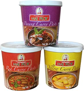 Mae Ploy Thai Curry Red, Panang and Yellow Paste, Variety Pack 14 oz (Pack of 3)