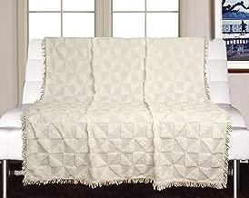 Saral Home Soft Cotton Unique Firki Design Tufted Throw Sofa Covers (Ivory, 140x210cm)