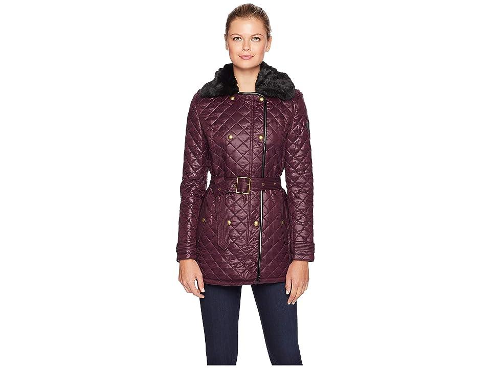LAUREN Ralph Lauren Double Breasted Belted Quilt w/ Faux Fur Collar (Burgundy) Women's Coat