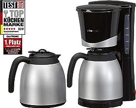 Clatronic KA 3328 Cafetera eléctrica de goteo automática con 2 jarras termo, máquina café de filtro capacidad 8 a 10 tazas, función de mantenedora calor, 870 W, 1 Liter, Negro y plata
