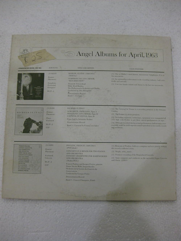 Angel Albums For April 1963 Demonstration Record