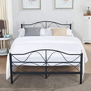 VECELO Queen Size Bed Frame Metal Platform Mattress Foundation/Box Spring Replacement with Headboard, Deluxe Crystal Ball Stylish,