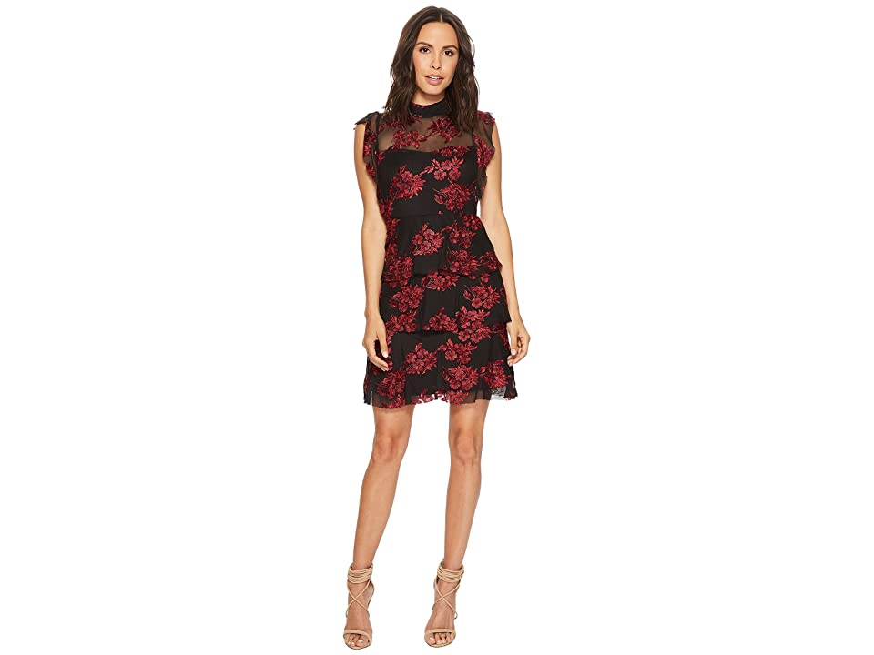 Romeo /& Juliet Couture Womens Red Floral Lace Mesh Back Detail Dress