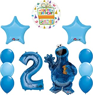 Mayflower Products Sesame Street Cookie Monsters 2nd Birthday party supplies and Balloon Decorations