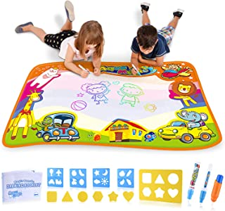 BRITENWAY Large Water Drawing Mat Kids Toy 35 x 23 inches | Magic Aqua Doodling Board for Age 2 Year and Up w/ 2 Magic Pens & 1 Brush for Boys & Girls | Educational Painting, Doodle & Writing Mat