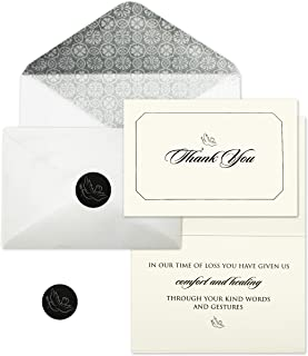 Funeral Thank You Cards with Envelopes | Sympathy Cards with Meaningful Message | Set of 25 with Decorative Envelopes and Stickers for Envelope Closure