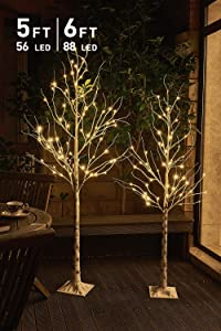 Pack of 2, EAMBRITE 5FT 6FT White Birch Tree Set Christmas Tree Combo Kit Perfect for Home Decor Holiday Party Wedding