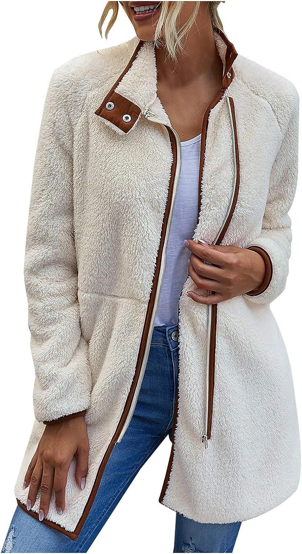 Sayhi Womens Fleece Fuzzy Stand Collar Outwear Winter Zipper Thermal Overcoat Faux Fur Overcoat