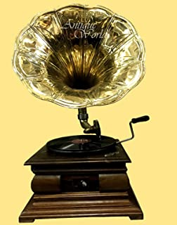 """Antiques World Brass Horn Vintage HMV """"His Masters Voice"""" Phonograph Antique Home Décor Music Box Wooden Turntable Square Base Gramophone AWUSAHB 0193"""