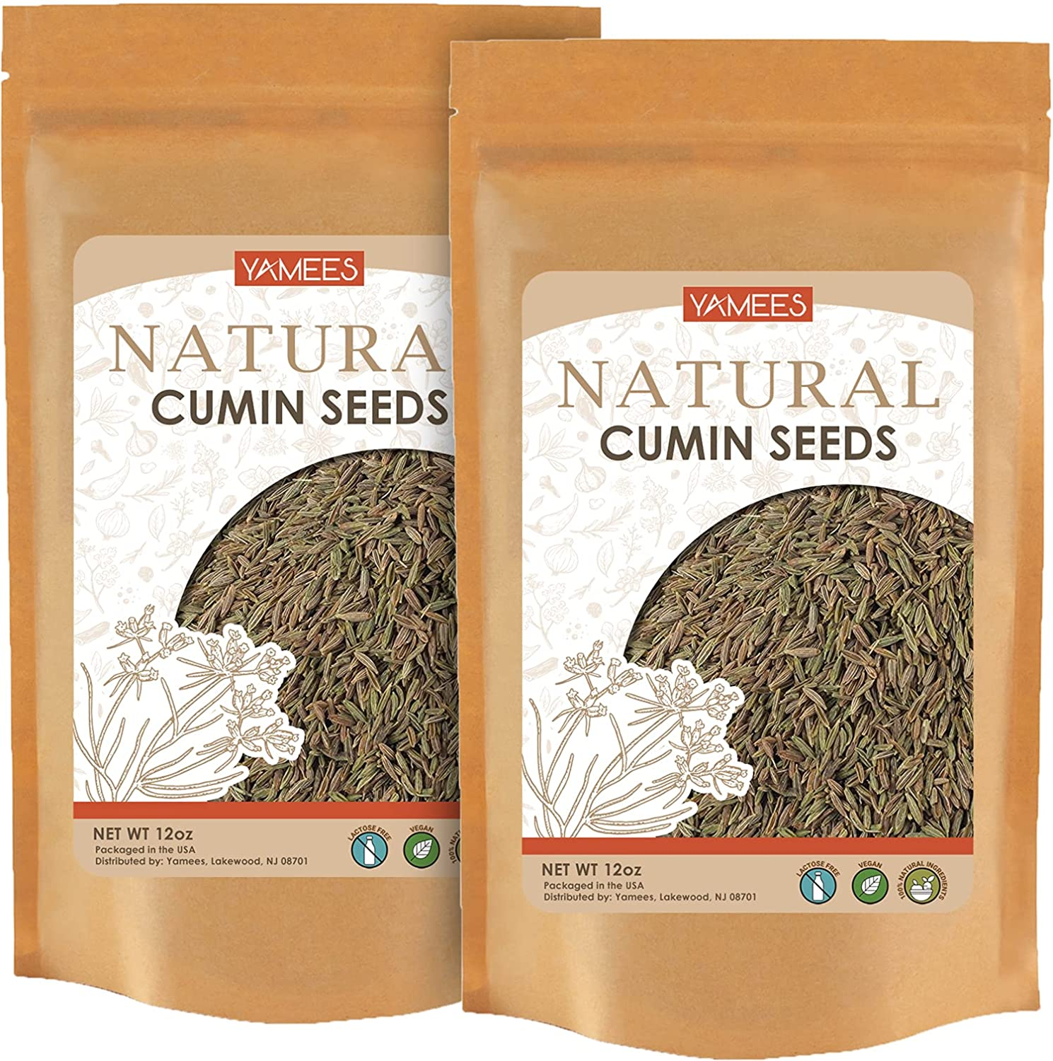 Yamees Cumin Seeds unisex - Deluxe 24 Whole Each Oz – 12
