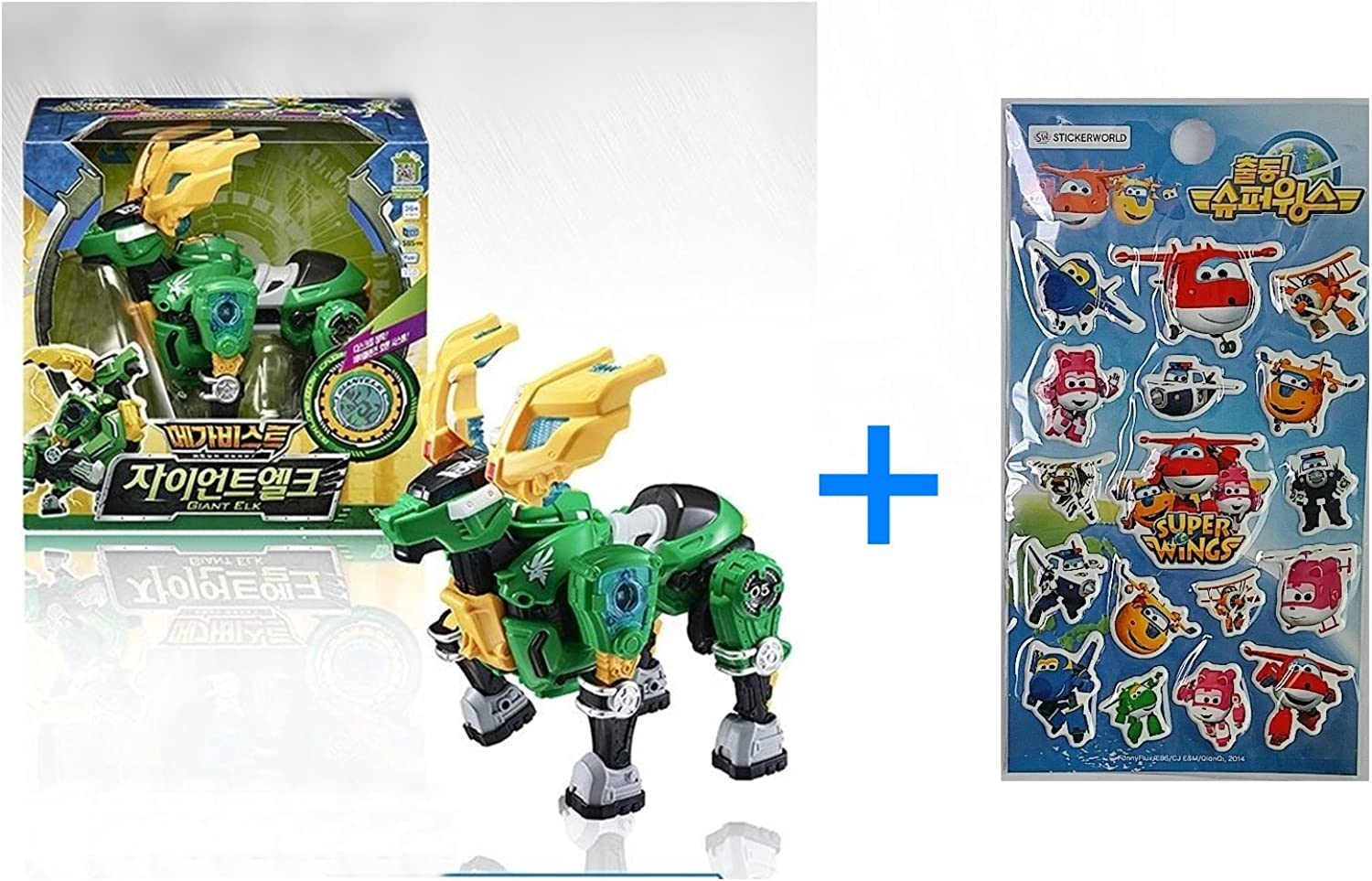 Young Toys Koreatv Animation Biklonz Mega Beast Giant Elk Transforming Coalescence Robot, Action Figure Transformer Robot + Super Wings Sticker(2 Piece)