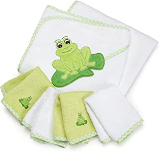 SpaSilk 100% Cotton Hooded Terry Bath Towel with 4 Washcloths, Green