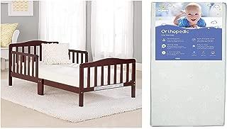 Big Oshi Contemporary Toddler Bed & Mattress Bundle, Waterproof, Non-Toxic Mattress, Espresso Color Bed