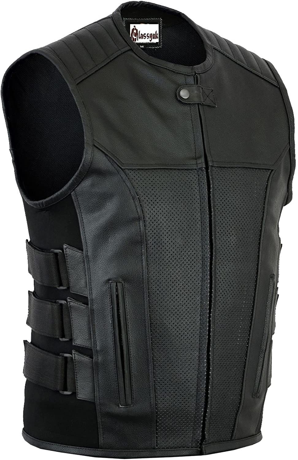 Classyak Men's Fashion Real Leather Vest with Side Snaps