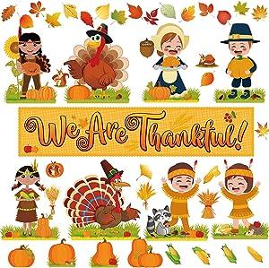 64 Pieces Thanksgiving Fall Autumn Classroom Bulletin Board Decor We are Thankful Bulletin Board Set Turkey Wheat Pumpkin Acorns Corn Maple Leaves Characters Squirrel Cutouts for Bulletin Board Decor