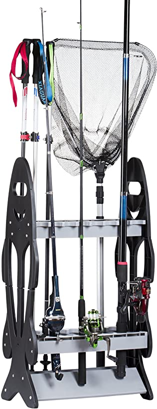 Wealers 16 Fishing Rod Holder Storage Rack Fishing Pole Stand Garage Organizer Space Saver, Designed to Holds Any Type Rod Hiking Sticks Will Keep It Steady