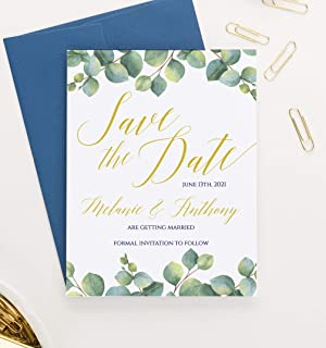 Greenery Save the Dates for Wedding, Modern Save the Date Cards for Weddings Personalized, Your choice of Quantity and Envelope Color
