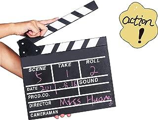 Movie Film Clap Board,Hollywood Clapper Board Wooden Film Movie Clapboard Accessory,Film Movie Cut Action Scene Slateboard Clapper Board Slate 11.8