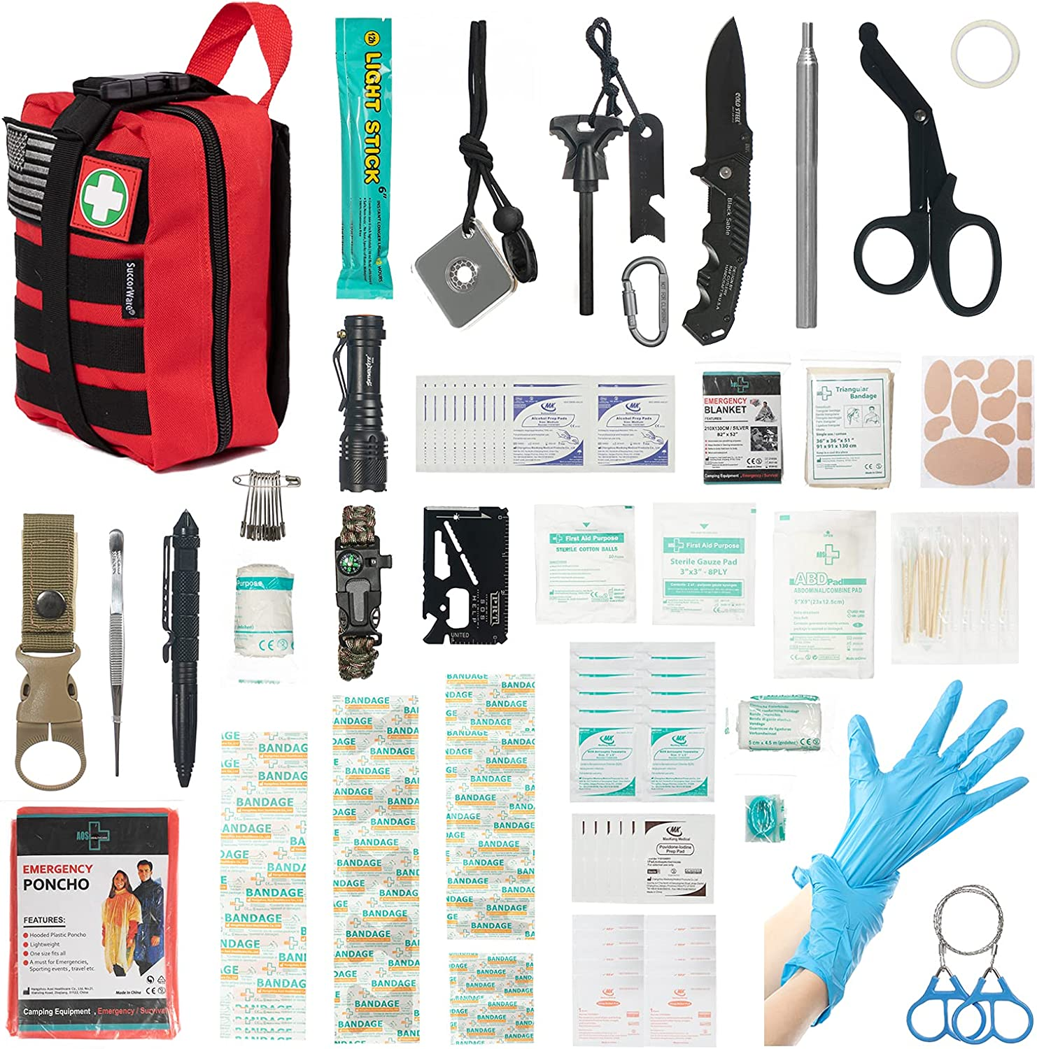 low-pricing 235 Pieces First Aid Items Kit Survival Excellence Multi-Purpose Gear and