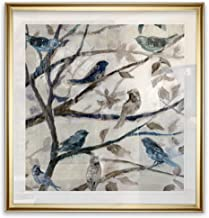 Renditions Gallery 15444-1616GF Morning Song I Birds On Tree Branch Vintage Art Framed Fine Giclee Canvas Prints Animal Wall Decor Painting, 16 x 16, Gold