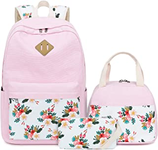 BLUBOON Teens Backpack Set Canvas Girls School Bags Bookbags 3 in 1 (E0079-Pink)