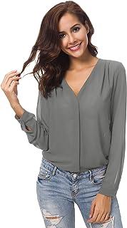Womens V Neck Ruffled Shoulder Business Causal Chiffon Blouse Button Down Shirts