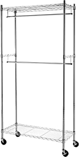 AmazonBasics Double Hanging Rod Garment Rolling Closet Organizer Rack, Chrome
