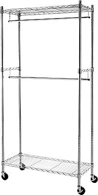 AmazonBasics Double Hanging Rod Garment Rolling Closet Organizer Rack, Chrome