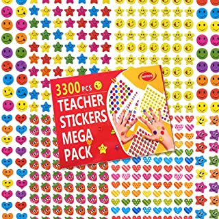MOTOEYE 3300 pcs Happy Planner Teacher Reward Stickers for Kids, Includes 3D Strawberry, Star, Round, Smiley Face,and Heart Stickers
