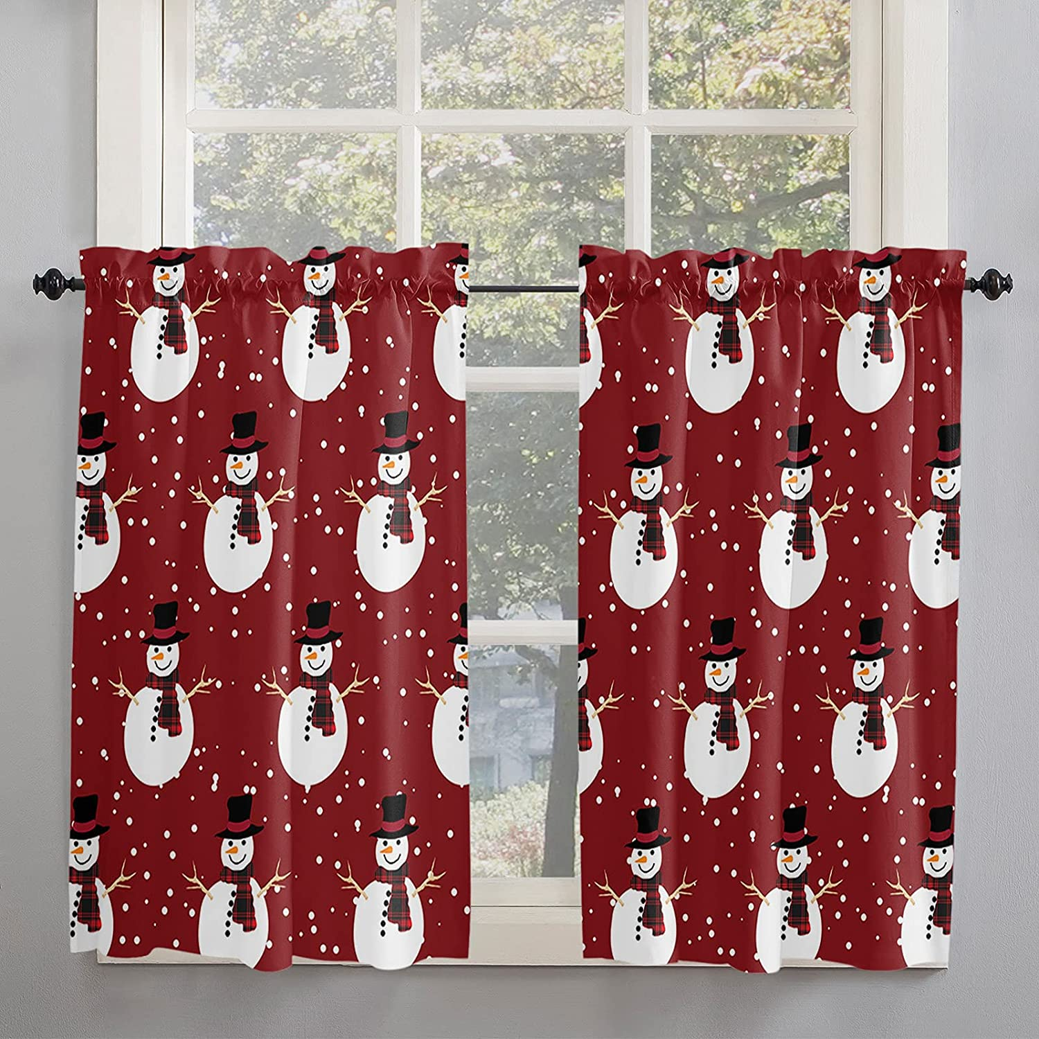 Christmas Kitchen wholesale Curtains 45 Inch Funny for Sno 40% OFF Cheap Sale Windows Length