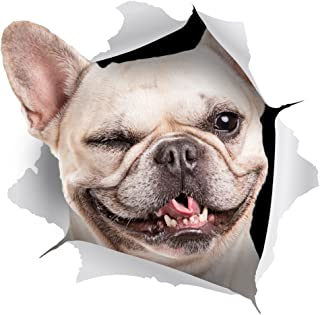2 Pack - Global Decals 3D Dog Stickers - Winking French Bulldog Sticker for Wall Fridge Toilet and More - Retail Packaged