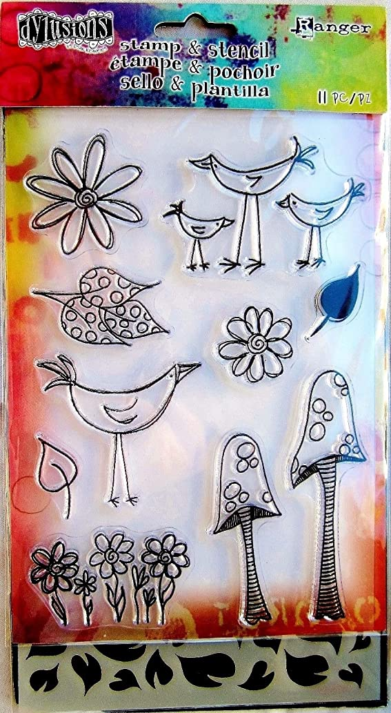 Dylusions Stamps & Stencil - Garden Leaves